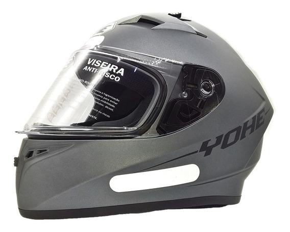 Capacete Moto Fechado Yohe Blade Titanium Cinza Fosco