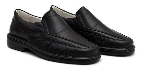 Sapato Sapatilha Anti Stress Couro Legitimo Preto.