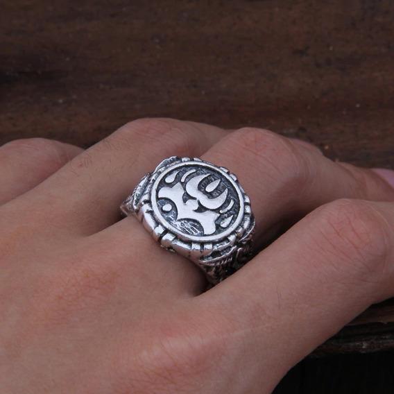 Anel Viking Amuleto Odin Runas Ragnar Templário Ajustável