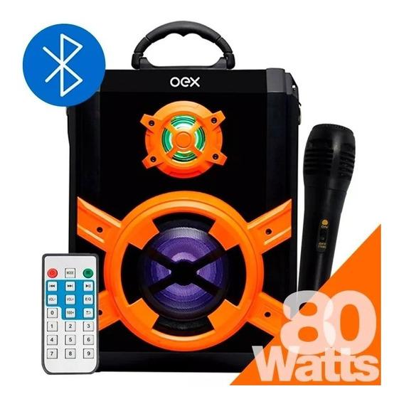 Caixa Som Portátil Amplificada 80w Rms Bluetooth Sk600 Oex