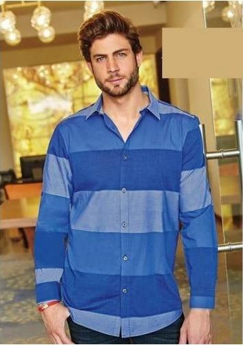 Camisa Azul De Franjas Manga Larga 96823
