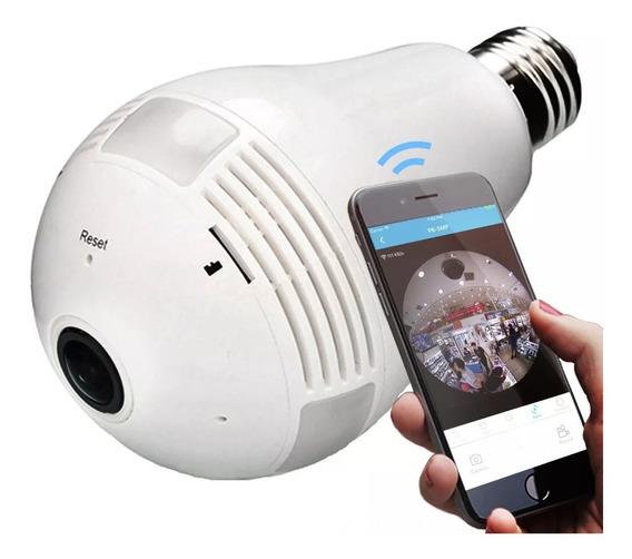 Lâmpada Câmera Espiã Wifi Hd Panorâmica 360º