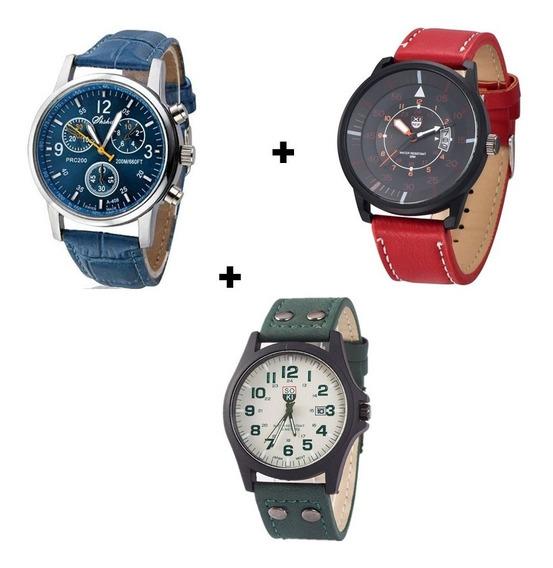 Kit 3 Relógios Militar Social E Casual Combo Completo Barato