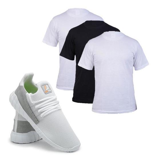 Kit C/ 3 Camisetas 100% Algodão + Tênis Caminhada Conforto