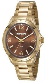 Relógio Pulso Mondaine Masculino Dourado Original Marrom