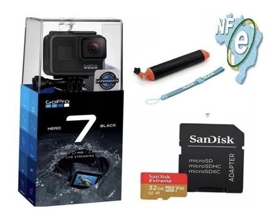 Câmera Digital Gopro Hero 7 Black 4k+sd 32 Gb+bastão+nf