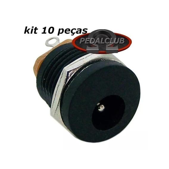 Conector Plug Jack P4 Femea J4 2.1mm Pedal Pedais 10 Peças