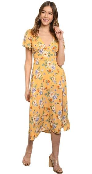 Vestido Floral Midi, Escote Espalda, Jardín, Playa, Casual.