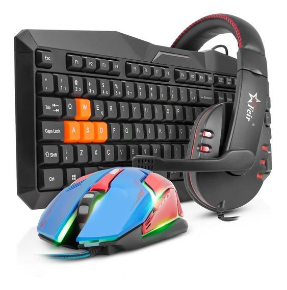 Kit Teclado Mouse Gamer Headset Fone Usb Iluminado Led Pc