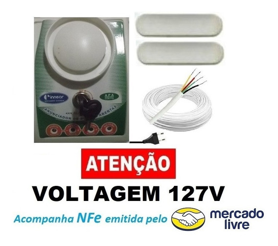 Alarme Anunciador Porta Aberta Com Fio + Sensor E 4 Mts Cabo