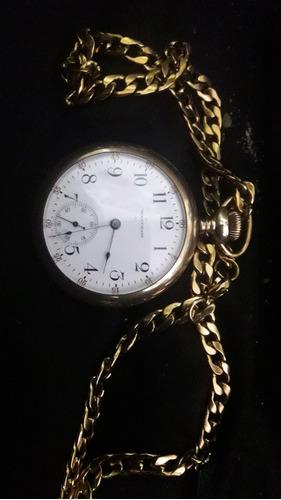 Imagen 1 de 2 de Reloj Antiguo De Cuerda   Whaltam  Laminado En Oro
