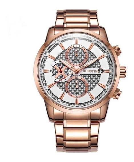Relógio Masculino Ochstin Gq085 Cronógrafo Em Aço Luxo