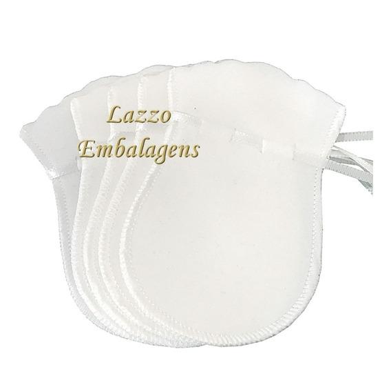 10 Sacos De Veludo Branco Medida 7x10 Cm Padrão Luxo