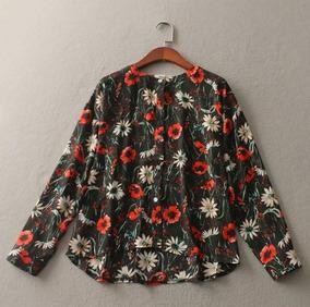 Blusa Camisa Feminina Estampada Floral Margarita Importada