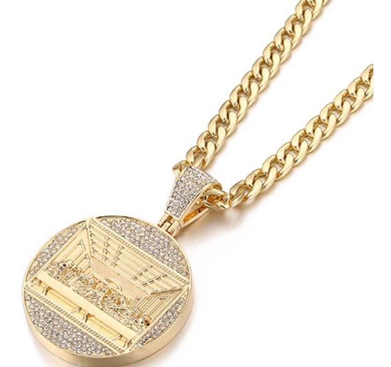 Corrente Pingente Ceia Cravejada Funk Hiphop Brilhante Ouro