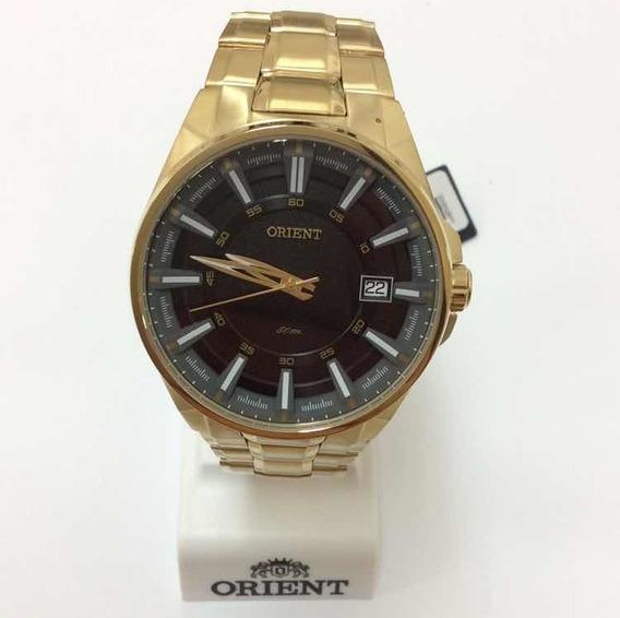 Relógio Analógico Orient Aço Com Banho Em Ouro Mgss 1143