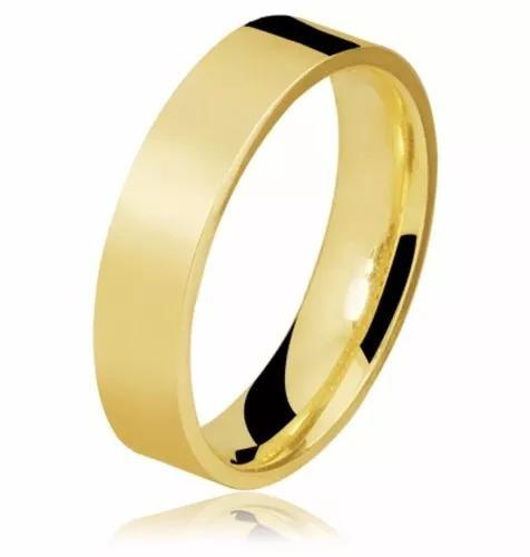 Aliança Reta Casamento 4mm Banhada Ouro 18k (1 Unidade)