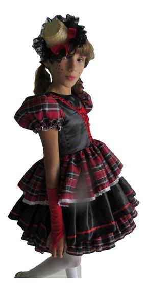 Vestido De Festa Junina Caipira Infantil Com Luva E Fitas De