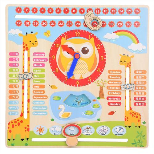 Educativo Relógio De Madeira Brinquedo Crianças Calendário D