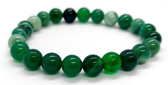 Pulseira De Esferas De Pedra Ágata Verde Pedra Da Sáude