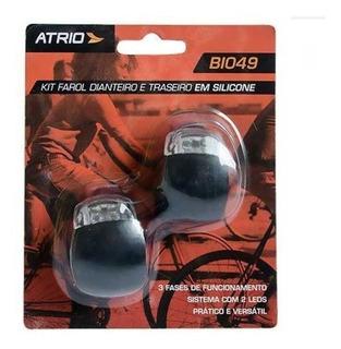Kit Farol Led Lanterna Bike Bicicleta Silicone Atrio Bi049