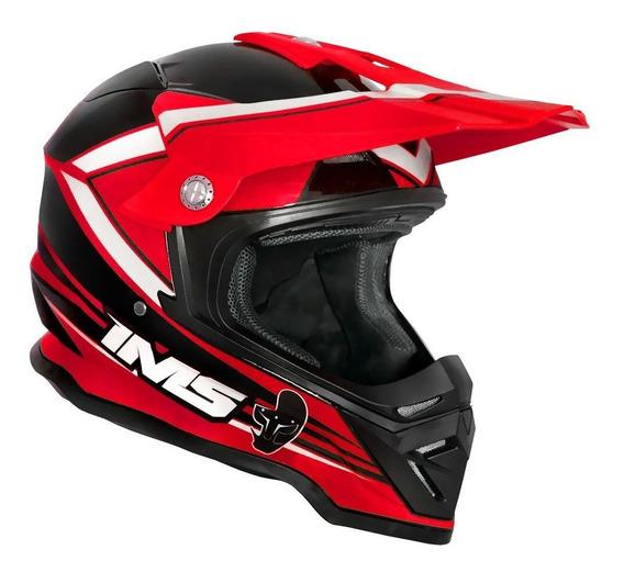 Capacete Abs Ims Light Vermelho Preto Motocross Trilha