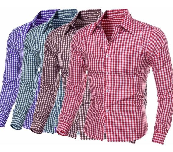 Camisa De Vestir Casual Cuadriculada Slimfit Moda Japonesa