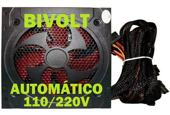 Fonte Atx Bluecase 500w Reais Real Pfc Ativo Gamer Bivolt Automatica Silenciosa Cooler 12cm 120mm Vermelho Nota Fiscal