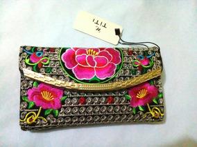 Cartera,billetera,bordada Flores