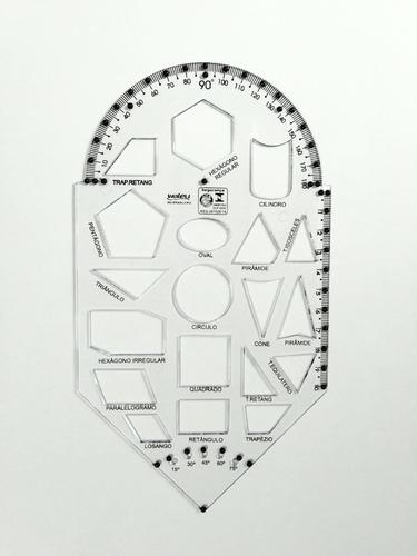 Imagem 1 de 4 de Gabarito De Formas Geométricas Adaptado Braille Baixa Visão