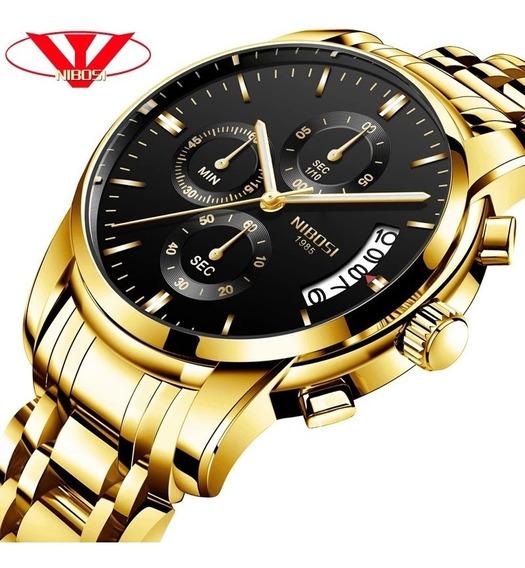 Relógio Masculino Nibosi 2353 Original Anti-riscos Luxo