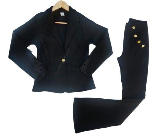 Conjunto Calça Flare Elegante +1 Blazer Terno Social P Ao Gg