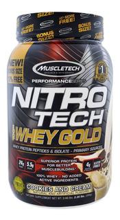 Nitro Tech 100% Whey Gold (999g) Bisc. Creme Muscletech