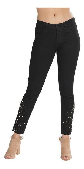 Pantalon Jeans Mezclilla Algodon Mujer Negro Perlas V83106