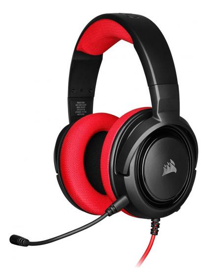 Audifonos Gamer Alámbrico Hs35 3.5 Mm 1 Khz Rojo Corsair