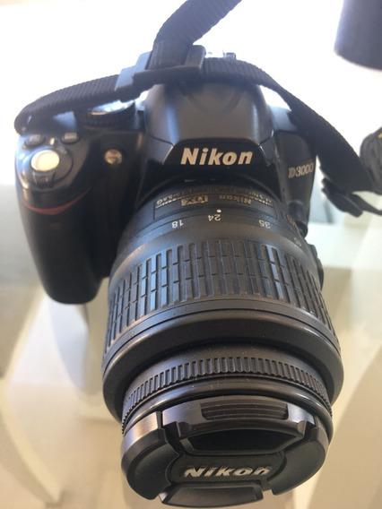 Nikon D 3000 Usada Com Lentes 18-55 E 55-200