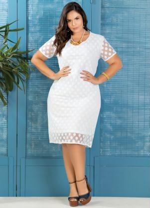 Vestido Midi Branco Renda Casamento Civil Plus Size 50 A 56