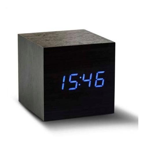 Relógio Digital E Despertador Led De Mesa Cubo Tipo Madeira