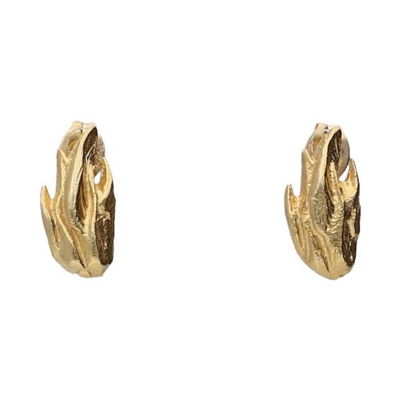 Aretes De Plata 925 Baño Oro En Forma Flama Gayatri