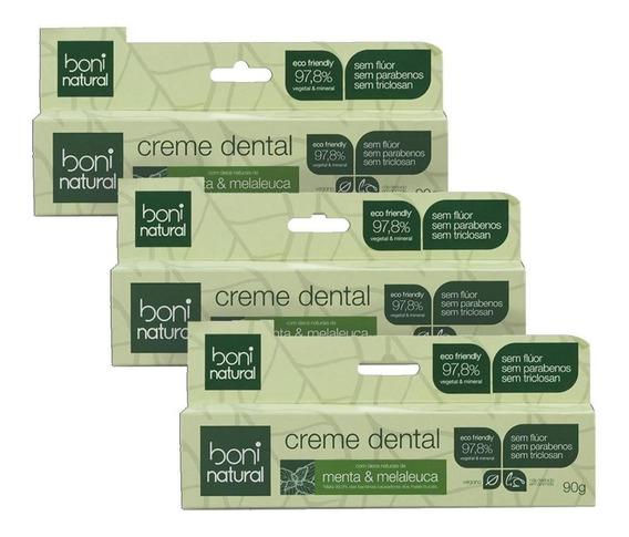 Kit C/ 3 Creme Dental Boni Natural Menta E Melaleuca 90g