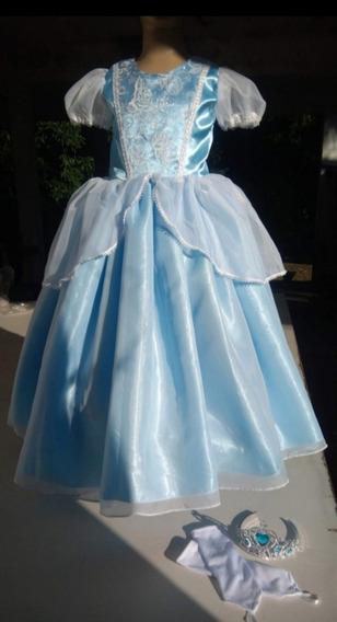 Fantasia Princesa Cinderela Infantil De Luxo Brinde+luvas