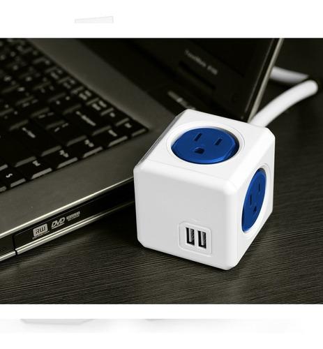 Allocacoc Multitoma En Cubo Con Extensión De 1.5mts Azul