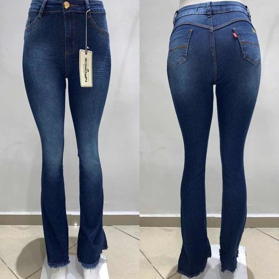 Calça Feminina Jeans Flare Boca Larga Desfiada Barra Calcas