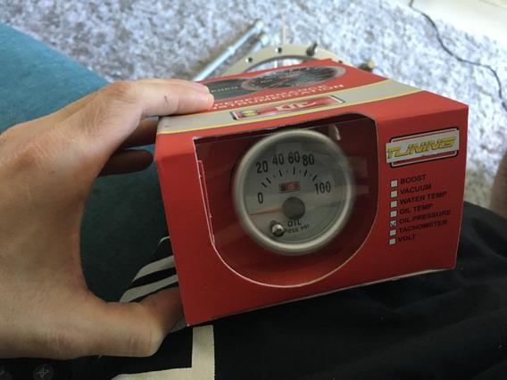 Manômetro 52mm Pressão Do Óleo 100 Psi Branco Tunne