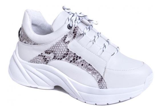 Tênis Chunky Sneaker Em Napa Branco E Cobra Palmilha 8 Mm