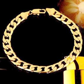Pulseira Bracelete Masc Banho Ouro 18k 21,5cm 7mm Semi Joia