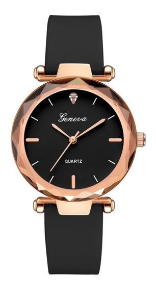 Relógio Feminino Rosé Silicone Geneva Quartz Promoção Barato