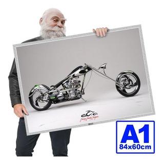 Poster Moto Antiga Chooper Rockposters A1 84x60cm 06