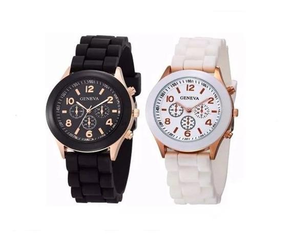 Relógio De Pulso Feminino Geneva Branco Pulseira De Silicone