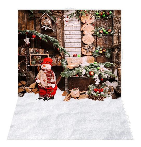 Fundo Fotografico Natalino Snow Em Tecido 2,2x1,5mt - Ideal